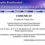 Comunicat Cultul Penticostal: Vladimir Pustan suspendat